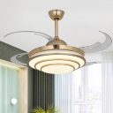 Cascaded Living Room Semi Flush Contemporary Metallic LED Gold Ceiling Pendant Fan Light with 4 Clear Blades, 42