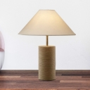 Beige 1 Head Desk Light Countryside Rope Cylindrical Night Table Lamp with Trapezoid Fabric Shade