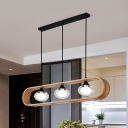 Oval Cluster Pendant Lighting Contemporary Clear Glass 3 Lights Dining Room Hanging Lamp Kit with Wood Elongated Rectangle Frame