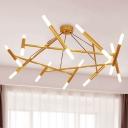 Slim Tube Cluster Pendant Lighting Modern Metal 20 Lights Living Room LED Hanging Lamp in Brass