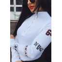 Fashion Womens Long Sleeve Stand Collar Half Zipper Letter Print Knitted Fit Bodysuit