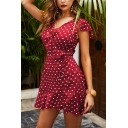 Gorgeous Womens Short Sleeve Surplice Neck Ruffle Trimmed Polka Dot Print Short A-Line Dress