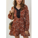 Pretty Girls Long Sleeve V-Neck Lace Trim All Over Flower Pattern Mini Pleated A-Line Dress in Red
