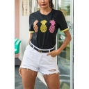 Trendy Ladies Short Sleeve Crew Neck Pineapple Printed Contrasted Relaxed T-Shirt in Black