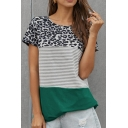 Fashionable Ladies Short Sleeve Round Neck Leopard Stripe Pattern Curved Hem Relaxed T Shirt