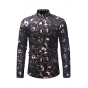 Stylish Mens Long Sleeve Stand Collar Button Down All Over Floral Printed Bronzing Slim Fit Shirt