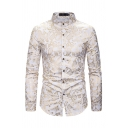 Popular Fancy Guys Long Sleeve Stand Collar Button Down All Over Paisley Pattern Slim Fit Shirt