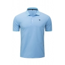 Formal Mens Short Sleeve Lapel Collar Button Up Logo Embroidery Relaxed Fit Blue Polo Shirt