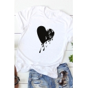 Simple Girls Roll Up Sleeve Crew Neck Dripping Heart Patterned Loose T Shirt