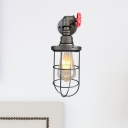Black/Rust 1 Bulb Sconce Farmhouse Style Metal Caged Wall-Mount Light with Red Valve Deco for Hallway