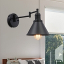 1 Light Wall Light Fixture Farmhouse Coffee House Swing Arm Sconce with Cone Iron Shade in Black