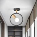 Metal Ring Semi Flush Lighting Modernist 1-Light Flush Mount Ceiling Lamp in Grey/Green/White with Tube Wood Arm
