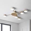 Contemporary Round Flushmount Lighting Metal 6 Lights Living Room LED Semi Flush Mount in Gold, White/Warm/Natural Light