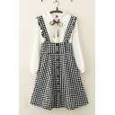 Girls Pretty Sleeveless Stringy Selvedge Button Down Plaid Printed Long A-Line Suspender Dress
