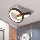 Modern LED Flushmount Black Double-Ring Ceiling Mounted Fixture with Acrylic Shade in White/Warm Light, Triangle Canopy