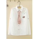 Popular Girls Long Sleeve Lapel Collar Button Down Letter CAT Graphic Relaxed Fit White Shirt with Tie