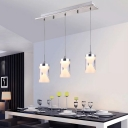 Modernism Hourglass Cluster Pendant Light Acrylic 3 Heads Dining Room Hanging Ceiling Lamp in Chrome, Warm/White Light