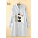 Cute Womens Long Sleeve Lapel Collar Button Down Cat Embroidered Stripe Printed Longline Oversize Shirt