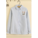 Lovely Girls Long Sleeve Lapel Neck Button Down Rabbit Embroidered Striped Relaxed Fit Shirt