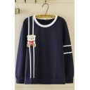 Leisure Womens Long Sleeve Round Neck Letter LOVE YOU Bear Print Striped Relaxed Fit Graphic Pullover Sweatshirt