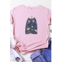 Cute Girls Roll Up Sleeve Round Neck Cat Patterned Loose T Shirt