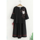 Harajuku Girls Black Bell Sleeve Round Neck Fox Embroidery Hollow Out Panel Lace Up Side Relaxed Tee with Long Pleated Skirt