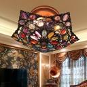 3 Bulbs Umbrella Semi-Flush Mount Decorative Metal Close to Ceiling Lamp in Brass