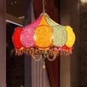 Jar Living Room Chandelier Light Decorative Metal 4 Bulbs Yellow/Pink Suspended Lighting Fixture