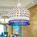 Metal White Pendant Lamp Hat 1 Head Decorative Hanging Ceiling Light with Adjustable Chain