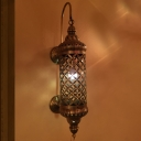 Metal Brass Wall Lighting Fixture Cylinder 1 Head Traditional Wall Sconce Light for Restaurant