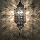 Metal Hollow Wall Mount Lamp Vintage 1 Light Bedroom Wall Sconce Lighting in Bronze