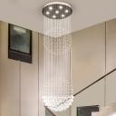 Spherical Multi Light Pendant Modernism Clear Crystal 7 Lights Stair LED Ceiling Suspension Lamp in White
