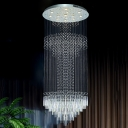 Crystal Cascading Multi Light Pendant Simple 13 Lights Silver LED Ceiling Hang Fixture for Restaurant