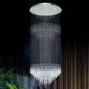 Crystal Cascading Multi Light Pendant Simple 13 Lights Silver LED Ceiling Hang Fixture for Restaurant