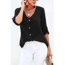 Simple Women's Plain Roll-Up Sleeves V-Neck Button Down Loose Tee