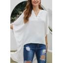 Designer Elegant Ladies' Batwing Sleeves V-Neck High Low Hem Solid Color Oversize Shirt