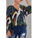Ladies' Casual Blouson Sleeve V-Neck All-Over Floral Printed Relaxed Fitted Shirt