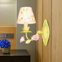 Green Conical Wall Sconce Light Pastoral Metal 1 Bulb Bedroom Flower Wall Mount Lamp with Fabric Shade