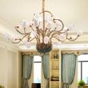 Metal Blossom Chandelier Light Fixture Pastoral Style 36 Lights Bedroom LED Ceiling Pendant in Brass