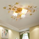 Flower Metal Ceiling Light Country Style 3 Bulbs Bedroom Semi Flush Mount Lighting in Gold