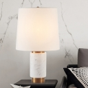 Contemporary Conical Table Light Fabric 1 Head Small Desk Lamp in White for Study