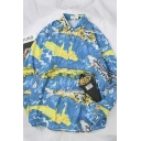 Pretty Fashion Guys' Long Sleeve Lapel Collar Fish Printed Button Front Loose Fit Shirt in Blue