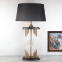 Contemporary 1 Head Task Lighting Gold Conical Night Table Lamp with Fabric Shade