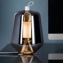 Urn Living Room Task Lighting Smoke Grey Glass LED Contemporary Night Table Lamp