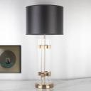Tubular Table Light Modern Crystal 1 Bulb Gold Small Desk Lamp with Black Fabric Shade