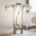 Contemporary Shaded Nightstand Lamp Clear Glass 1 Head Living Room Reading Book Light