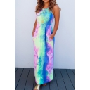 Special Occasion Ladies' Sleeveless Round Neck Tie Dye Maxi A-Line Dressing Gown in Blue