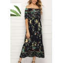 Ethnic Ladies' Short Sleeve Off the Shoulder All Over Floral Printed Maxi A-Line Dress