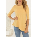 Women's Yellow Three-Quarter Sleeve Round Neck Lace Panel Button Detail Asymmetric Knit Relaxed Pretty T Shirt