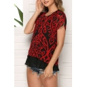 Stylish Women's Short Sleeve Round Neck All Over Floral Printed Patchwork Mesh Relaxed Fit Tee